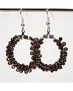Round earrings with rocaille seed beads.