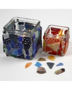 Mosaic on Candle Holders decorated with Glass & Porcelain Markers