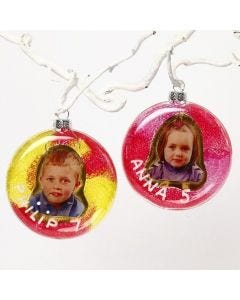 A Flat Glass Bauble with a Child's Photo