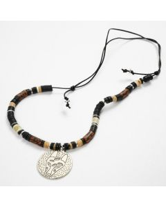 A Necklace with a Metal Disc