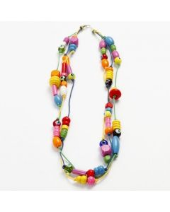 A Necklace with Wooden Beads and Glass Beads