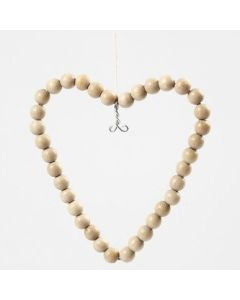 A Wire Heart with Wooden Beads