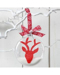 A Flat Glass Bauble with a Reindeer Design