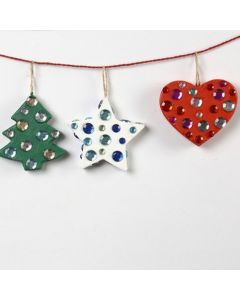 Papier-Mâché Christmas Decorations with Rhinestones