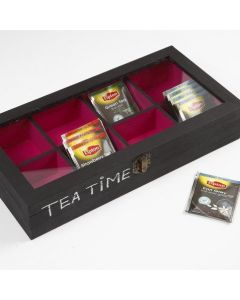 A wooden Tea Caddy Box with a Glass Lid