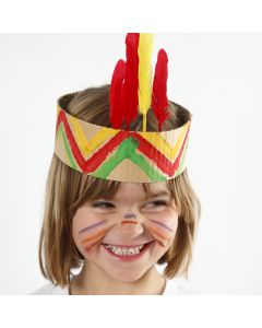 A Head Dress from painted corrugated Board with Feathers