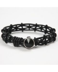 A Bracelet made from Leather Cords with Silicone Stop Rings
