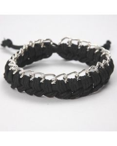 A Silicone Bracelet with Macramé Cord and Jewellery Chain