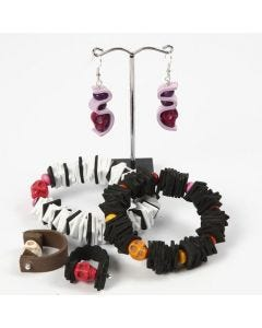 A Bracelet, a Ring and Earrings made from Foam Rubber