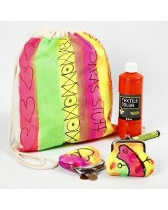 A Shoe Bag and a Purse painted in Neon Colours