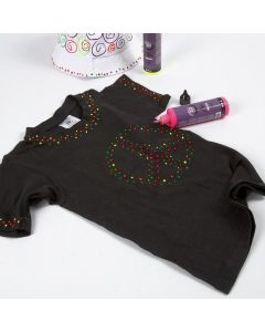 A Black T-Shirt decorated with 3D Liner