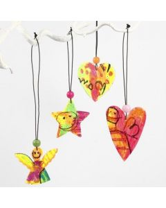 Wooden Hanging Decorations painted with Oil Pastels