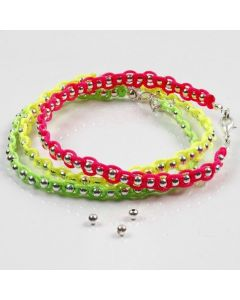 Silver-plated Metal Beads & neon Macramé Cord on Beading Wire