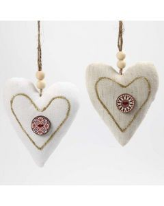 Fabric Hearts with a Button and 3D Gold Liner