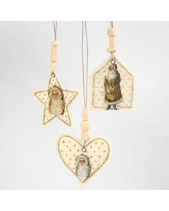Felt Hanging Decorations with Vintage Die-Cuts, Glitter and Beads