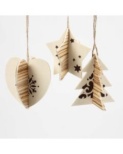 Two-part Hanging Decoration with Wood Veneer & Christmas Designs