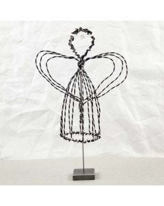 An Angel on a Stand made from black Alu Wire with Diamond Cut