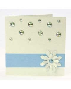 A Greeting Card with a Border, a punched-out Flower & Rhinestones
