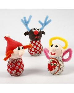 Christmas Figures from Glass Bulbs, Silk Clay and Pipe Cleaners