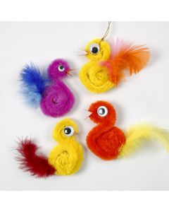 A Chick from a Pipe Cleaner and Feathers