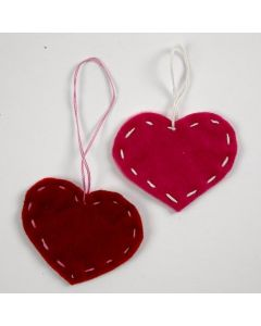 Felt Hearts with decorative Back Stitches