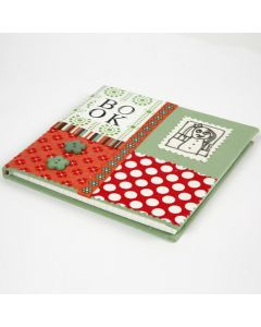 A Notebook covered with a Collage made from organic Cotton