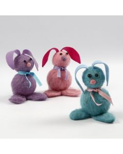 Needle Felted Bunnies with Felt Ears and Foam Clay Eyes