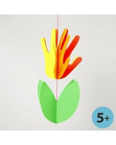 A Neon Coloured Card Flower made from Hands