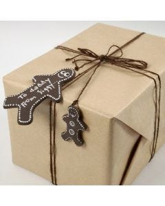 A Silk Clay Gingerbread Man as a Gift Tag