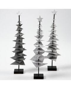 A Christmas Tree made from Design Paper on a Stick with a Stand