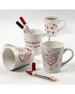 A white porcelain Mug with red Love Motifs