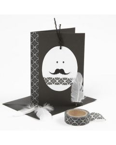 A white & black Easter Card with an Egg Head & Masking Tape