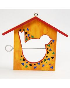 A painted Bird Feeding House, decorated with a Pattern