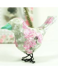 A decoupaged Paper Bird on Feet made from Floral Wire