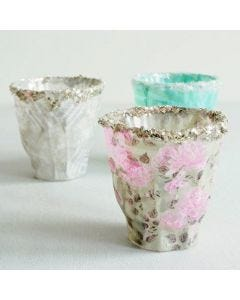 Candle Holders with Skagen Decoupage Paper and Glitter on the Rim