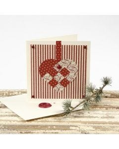Christmas Card with Design Paper Heart & Envelope with Wax Seal