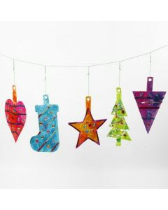 Large Christmas hanging Decorations from decorated die-cut Card