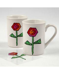 Mugs with a transferred marker-drawn Design from transparent Foil