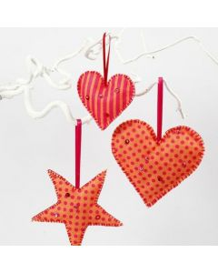 Hanging Decorations made from Felt with a printed Pattern
