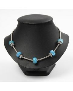 An articulated Necklace with Glass and Metal Links
