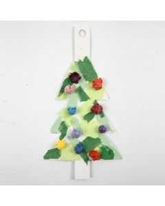 A Christmas Tree made from white Card with Tissue Paper