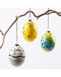Natural Eggs with Glass Paint and black Graphics