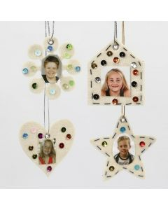White Felt Shapes with Rhinestones and printed Portraits