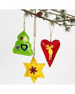 Painted Christmas hanging Decorations with Glitter and Sequins