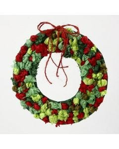A Card Wreath with small Tissue Paper Berries