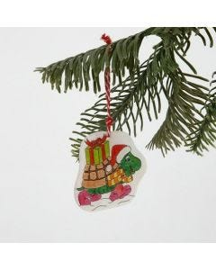 A Shrink Plastic Hanging Decoration with a Christmas Design