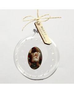 A decorated flat glass Bauble with a Wood Veneer Sticker