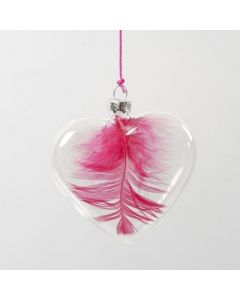 A Feather inside a Glass Heart hanging in a neon-coloured String