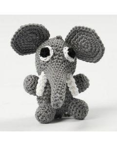 A crocheted sitting Elephant