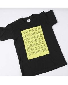 A T-Shirt with the Alphabet drawn onto a painted Area